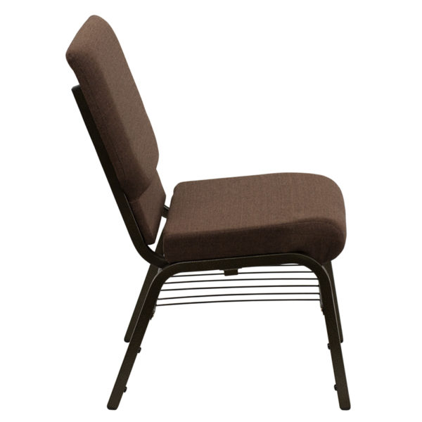 Lowest Price HERCULES Series 18.5''W Church Chair in Brown Fabric with Book Rack - Gold Vein Frame