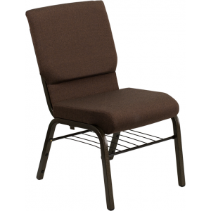 Wholesale HERCULES Series 18.5''W Church Chair in Brown Fabric with Book Rack - Gold Vein Frame
