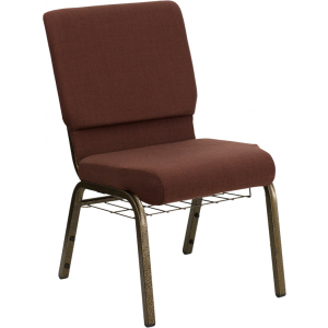 Wholesale HERCULES Series 18.5''W Church Chair in Brown Fabric with Cup Book Rack - Gold Vein Frame
