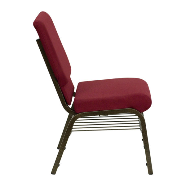 Lowest Price HERCULES Series 18.5''W Church Chair in Burgundy Fabric with Book Rack - Gold Vein Frame