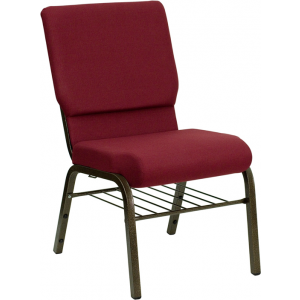 Wholesale HERCULES Series 18.5''W Church Chair in Burgundy Fabric with Book Rack - Gold Vein Frame
