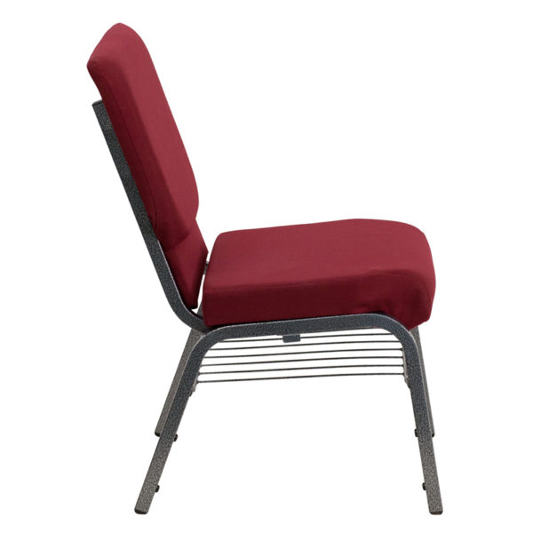 Lowest Price HERCULES Series 18.5''W Church Chair in Burgundy Fabric with Book Rack - Silver Vein Frame