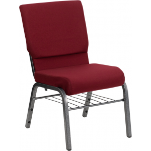 Wholesale HERCULES Series 18.5''W Church Chair in Burgundy Fabric with Book Rack - Silver Vein Frame