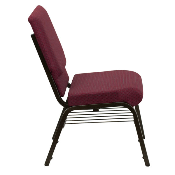 Lowest Price HERCULES Series 18.5''W Church Chair in Burgundy Patterned Fabric with Book Rack - Gold Vein Frame