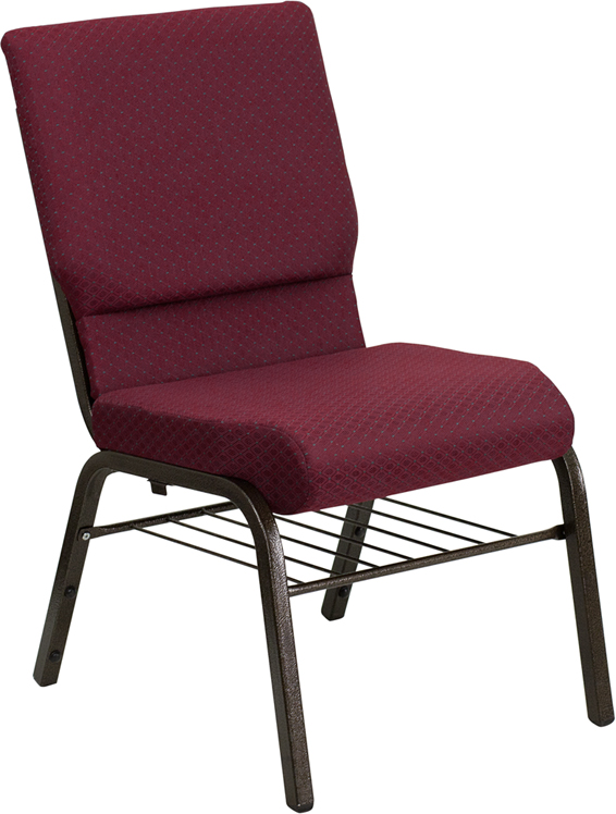 Wholesale HERCULES Series 18.5''W Church Chair in Burgundy Patterned Fabric with Book Rack - Gold Vein Frame