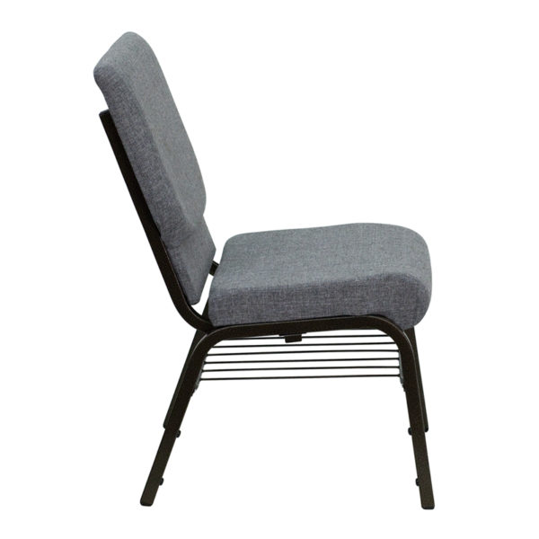Lowest Price HERCULES Series 18.5''W Church Chair in Gray Fabric with Book Rack - Gold Vein Frame