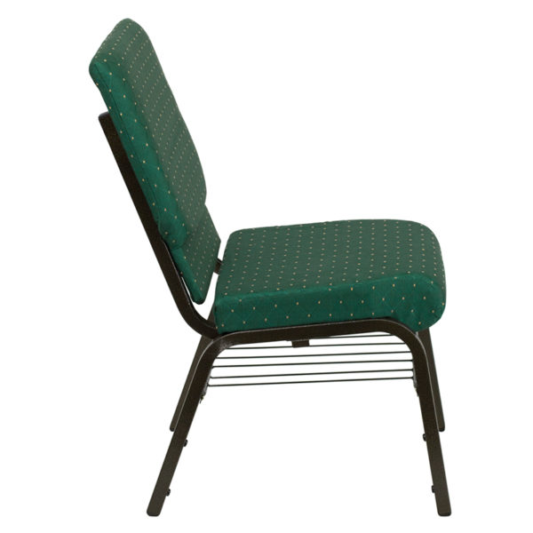 Lowest Price HERCULES Series 18.5''W Church Chair in Green Patterned Fabric with Book Rack - Gold Vein Frame