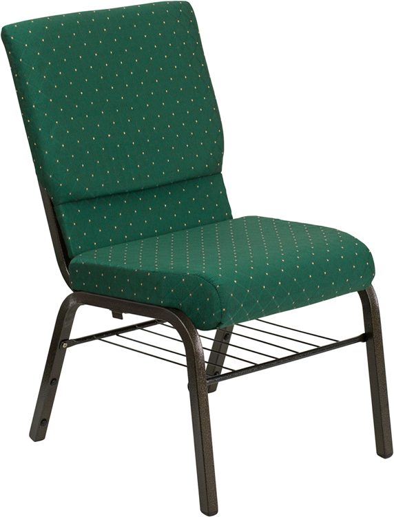 Wholesale HERCULES Series 18.5''W Church Chair in Green Patterned Fabric with Book Rack - Gold Vein Frame