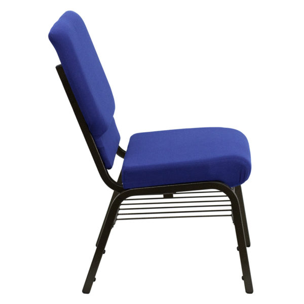 Lowest Price HERCULES Series 18.5''W Church Chair in Navy Blue Fabric with Book Rack - Gold Vein Frame