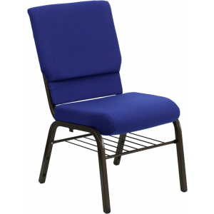 Wholesale HERCULES Series 18.5''W Church Chair in Navy Blue Fabric with Book Rack - Gold Vein Frame