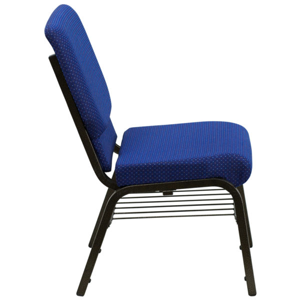 Lowest Price HERCULES Series 18.5''W Church Chair in Navy Blue Patterned Fabric with Book Rack - Gold Vein Frame