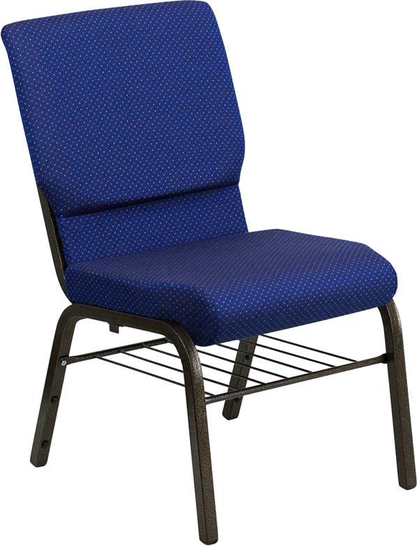Wholesale HERCULES Series 18.5''W Church Chair in Navy Blue Patterned Fabric with Book Rack - Gold Vein Frame