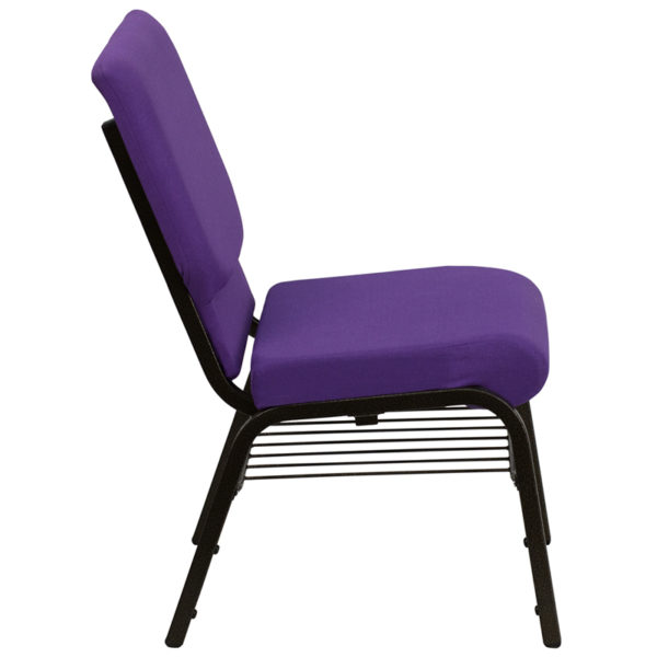 Lowest Price HERCULES Series 18.5''W Church Chair in Purple Fabric with Book Rack - Gold Vein Frame