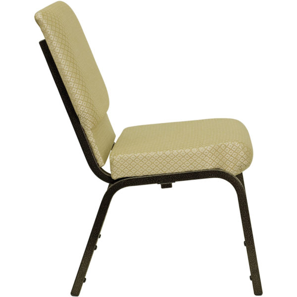 Lowest Price HERCULES Series 18.5''W Stacking Church Chair in Beige Patterned Fabric - Gold Vein Frame