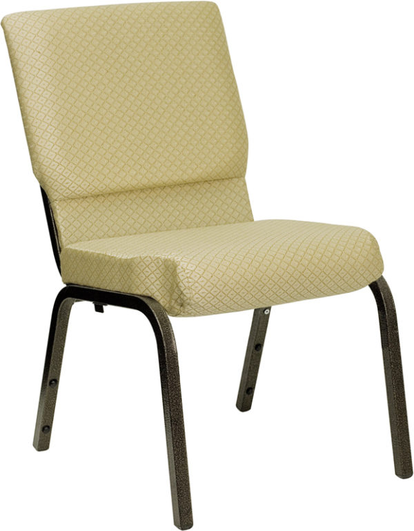 Wholesale HERCULES Series 18.5''W Stacking Church Chair in Beige Patterned Fabric - Gold Vein Frame