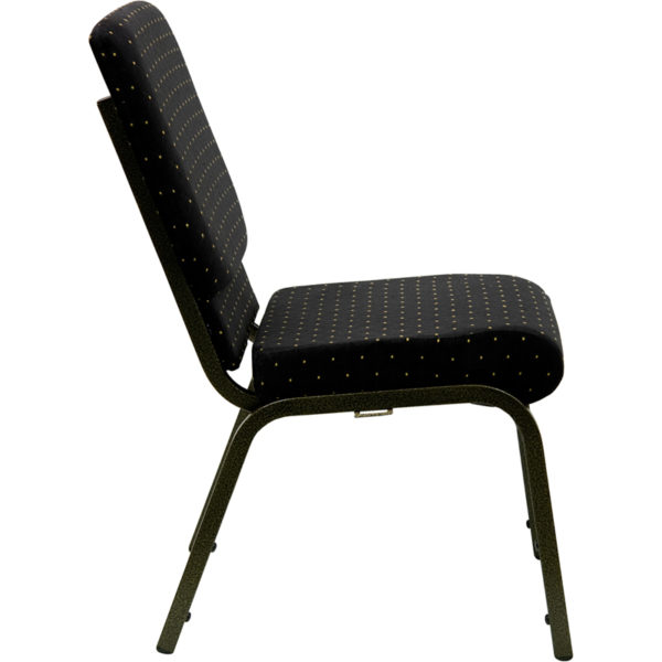 Lowest Price HERCULES Series 18.5''W Stacking Church Chair in Black Dot Patterned Fabric - Gold Vein Frame