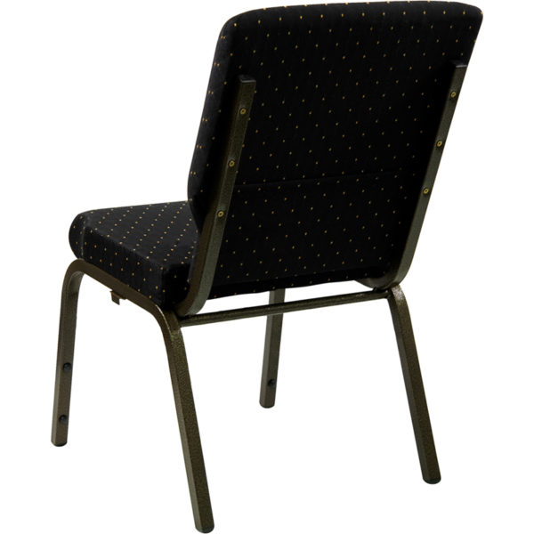 Multipurpose Church Chair Black Dot Fabric Church Chair