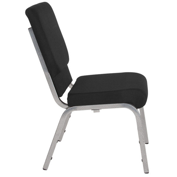 Lowest Price HERCULES Series 18.5''W Stacking Church Chair in Black Fabric - Silver Vein Frame