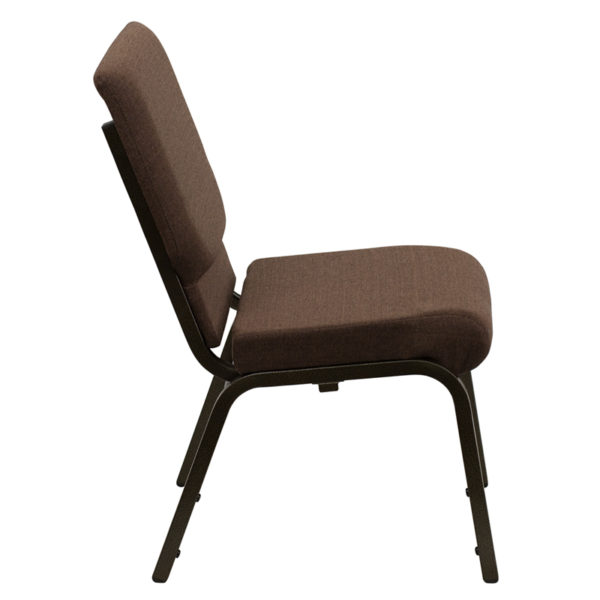 Lowest Price HERCULES Series 18.5''W Stacking Church Chair in Brown Fabric - Gold Vein Frame