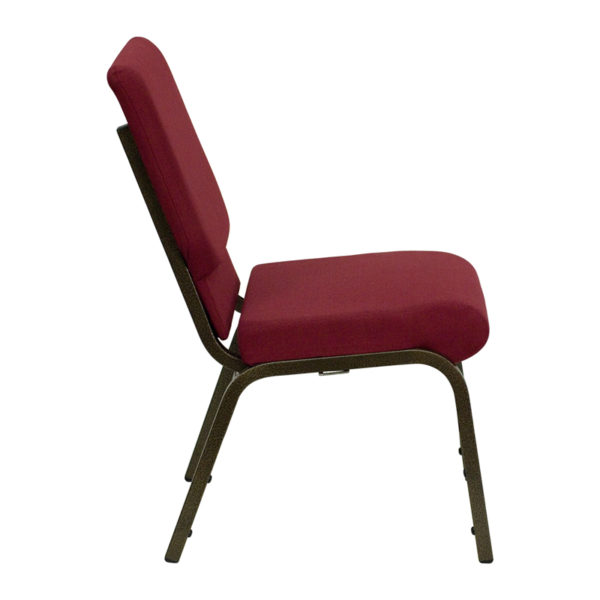 Lowest Price HERCULES Series 18.5''W Stacking Church Chair in Burgundy Fabric - Gold Vein Frame