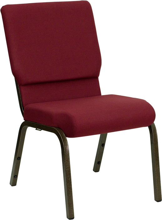 Wholesale HERCULES Series 18.5''W Stacking Church Chair in Burgundy Fabric - Gold Vein Frame