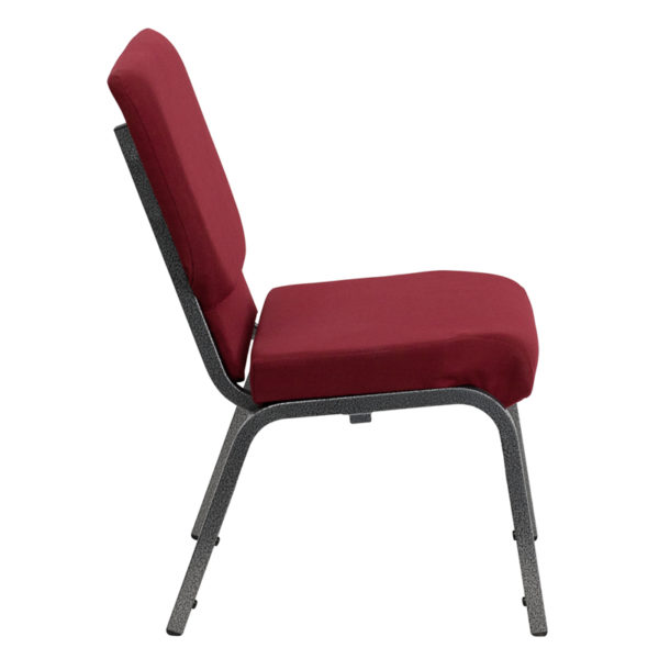 Lowest Price HERCULES Series 18.5''W Stacking Church Chair in Burgundy Fabric - Silver Vein Frame