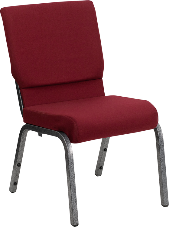 Wholesale HERCULES Series 18.5''W Stacking Church Chair in Burgundy Fabric - Silver Vein Frame