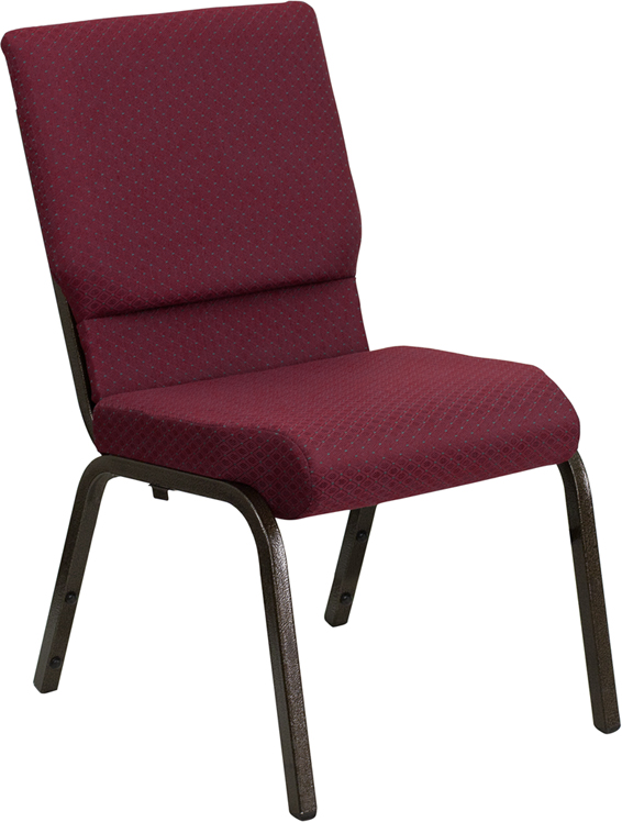 Wholesale HERCULES Series 18.5''W Stacking Church Chair in Burgundy Patterned Fabric - Gold Vein Frame