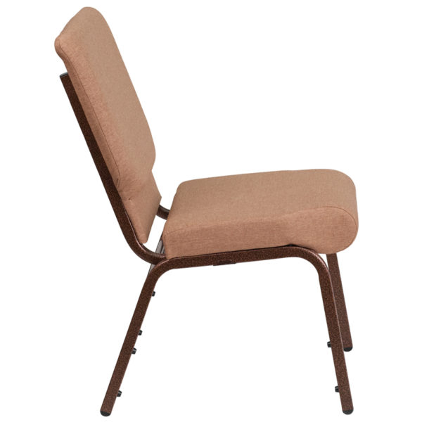 Lowest Price HERCULES Series 18.5''W Stacking Church Chair in Caramel Fabric - Copper Vein Frame