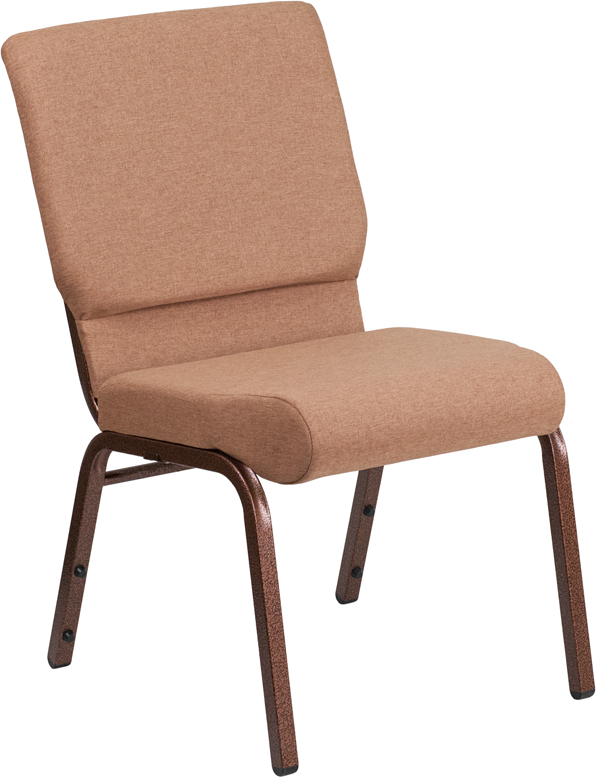 Wholesale HERCULES Series 18.5''W Stacking Church Chair in Caramel Fabric - Copper Vein Frame
