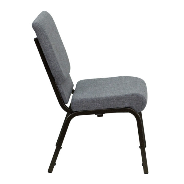 Lowest Price HERCULES Series 18.5''W Stacking Church Chair in Gray Fabric - Gold Vein Frame