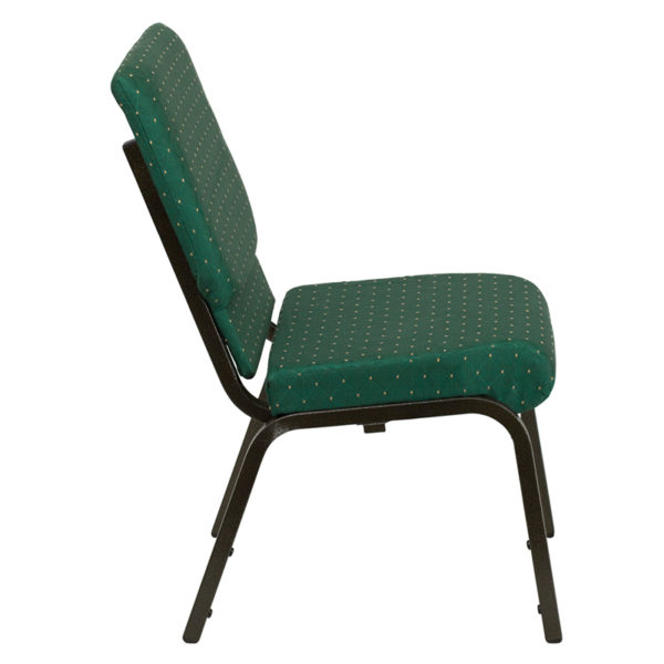 Lowest Price HERCULES Series 18.5''W Stacking Church Chair in Green Patterned Fabric - Gold Vein Frame
