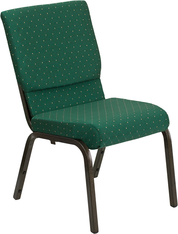 Wholesale HERCULES Series 18.5''W Stacking Church Chair in Green Patterned Fabric - Gold Vein Frame