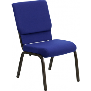 Wholesale HERCULES Series 18.5''W Stacking Church Chair in Navy Blue Fabric - Gold Vein Frame