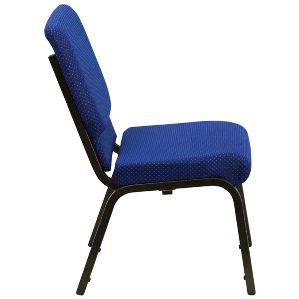 Lowest Price HERCULES Series 18.5''W Stacking Church Chair in Navy Blue Patterned Fabric - Gold Vein Frame