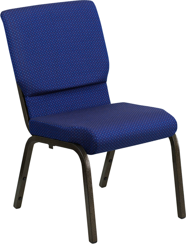 Wholesale HERCULES Series 18.5''W Stacking Church Chair in Navy Blue Patterned Fabric - Gold Vein Frame
