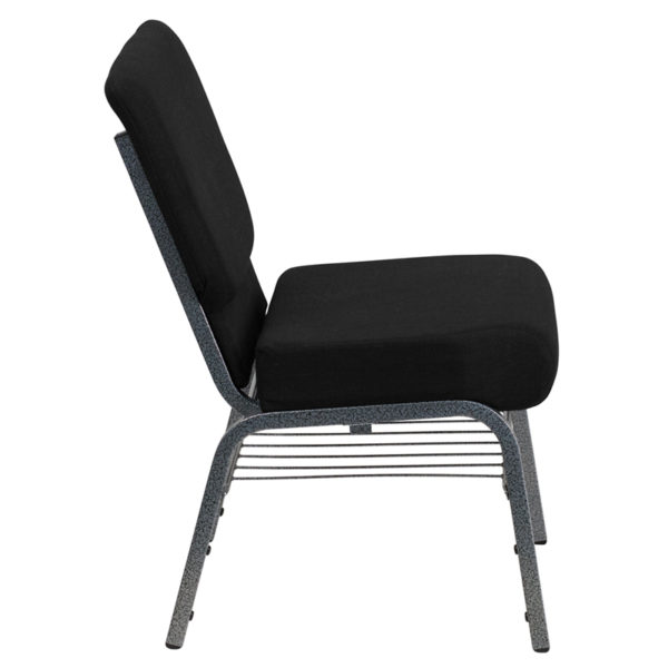 Lowest Price HERCULES Series 21''W Church Chair in Black Fabric with Book Rack - Silver Vein Frame