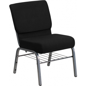 Wholesale HERCULES Series 21''W Church Chair in Black Fabric with Book Rack - Silver Vein Frame