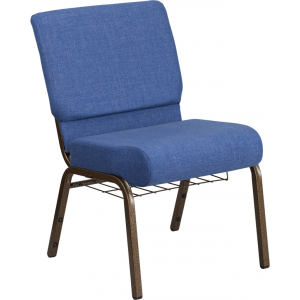 Wholesale HERCULES Series 21''W Church Chair in Blue Fabric with Cup Book Rack - Gold Vein Frame