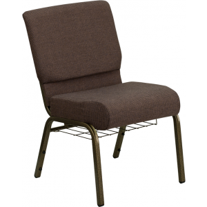 Wholesale HERCULES Series 21''W Church Chair in Brown Fabric with Cup Book Rack - Gold Vein Frame