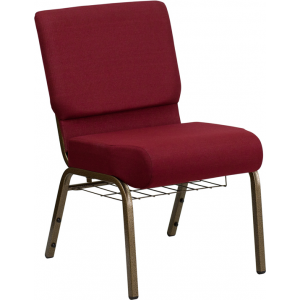 Wholesale HERCULES Series 21''W Church Chair in Burgundy Fabric with Cup Book Rack - Gold Vein Frame