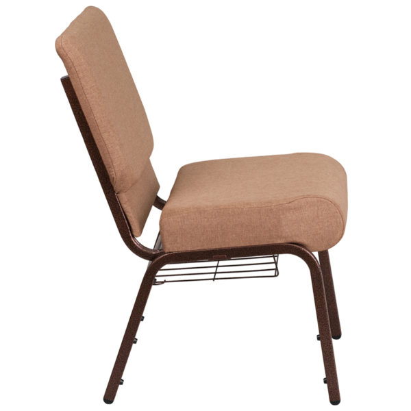 Lowest Price HERCULES Series 21''W Church Chair in Caramel Fabric with Cup Book Rack - Copper Vein Frame