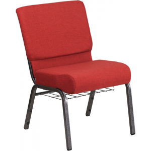 Wholesale HERCULES Series 21''W Church Chair in Crimson Fabric with Cup Book Rack - Silver Vein Frame