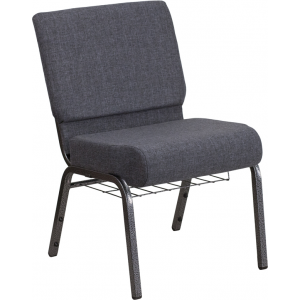 Wholesale HERCULES Series 21''W Church Chair in Dark Gray Fabric with Book Rack - Silver Vein Frame