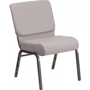 Wholesale HERCULES Series 21''W Church Chair in Gray Dot Fabric - Silver Vein Frame