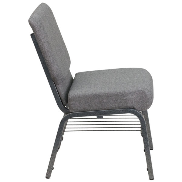 Lowest Price HERCULES Series 21''W Church Chair in Gray Fabric with Book Rack - Silver Vein Frame