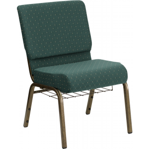 Wholesale HERCULES Series 21''W Church Chair in Hunter Green Dot Patterned Fabric with Book Rack - Gold Vein Frame