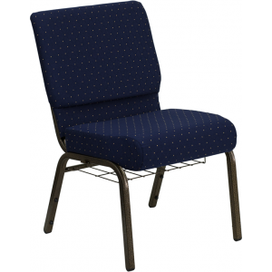 Wholesale HERCULES Series 21''W Church Chair in Navy Blue Dot Patterned Fabric with Book Rack - Gold Vein Frame