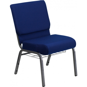 Wholesale HERCULES Series 21''W Church Chair in Navy Blue Fabric with Cup Book Rack - Silver Vein Frame