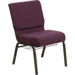 Wholesale HERCULES Series 21''W Church Chair in Plum Fabric with Cup Book Rack - Gold Vein Frame